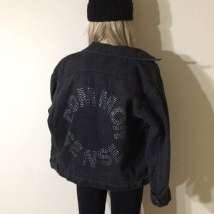 Dark Wash Oversized Denim Jacket with Rhinestones
